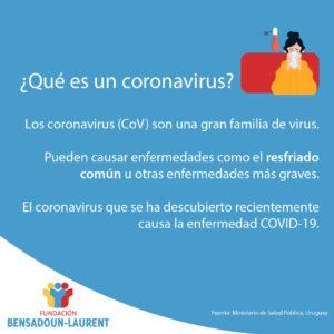 Placa que contiene el texto sobre qué es un coronavirus