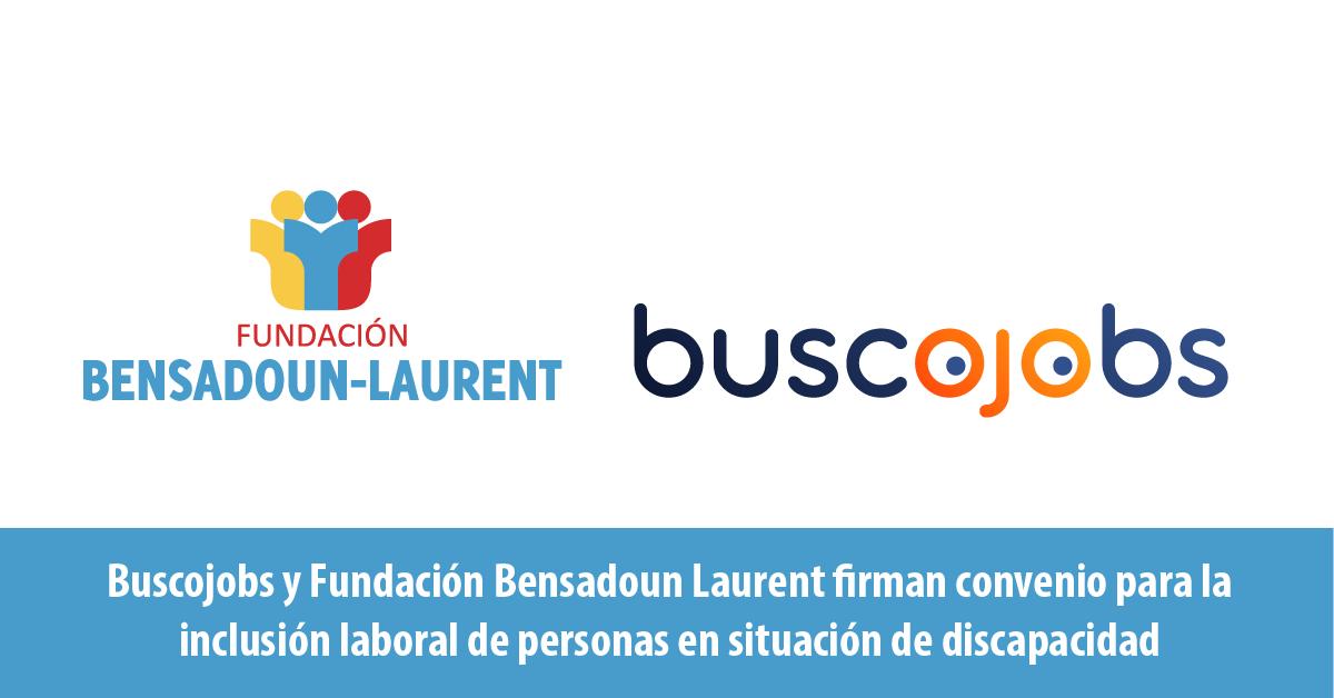 Sobre fondo blanco, los logos de la Fundación Bensadoun Laurent y el portal de empleo Buscojobs