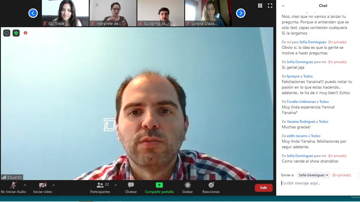Captura de pantalla de la videoconferencia, con un primer plano de Eduardo di Fabio.