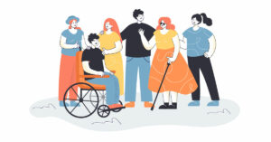 Dibujo que muestra a diferentes personas, algunas de ellas en situación de discapacidad, conversando. Una de ellas es usuaria de silla